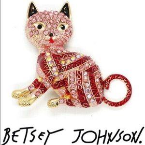 💋Betsey Johnson Striped Pink Cat Brooch